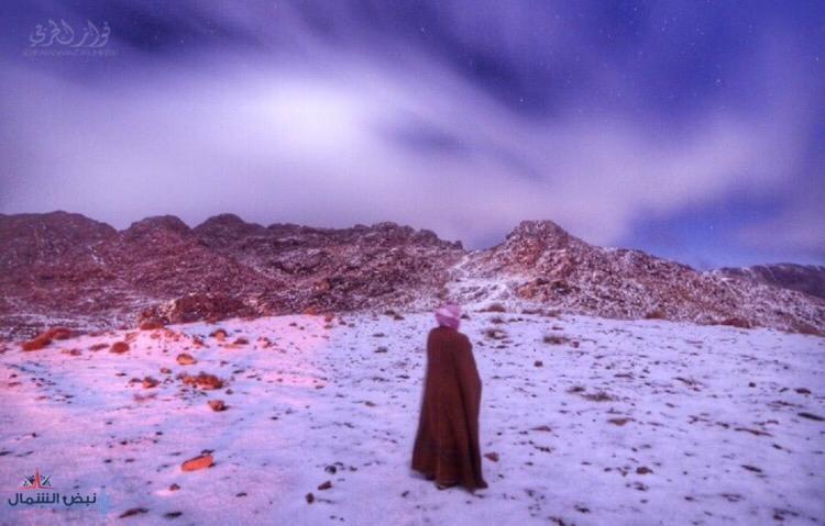 طقس عاصف شمال المملكة هذا اليوم الأربعاء والثلوج متوقعة ليلاً على طريف ومرتفع الكتب بالقريات وجبل اللوز وعلقان