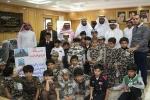 """الثبيتي يستقبل طلاب مدرسة أجيال القريات الأهلية في زيارة تحت عنوان """"رسالة الى جنودنا على الحدود"""""""