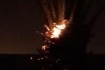 بالفيديو.. صاعقة رعدية تحرق نخلة في طبرجل